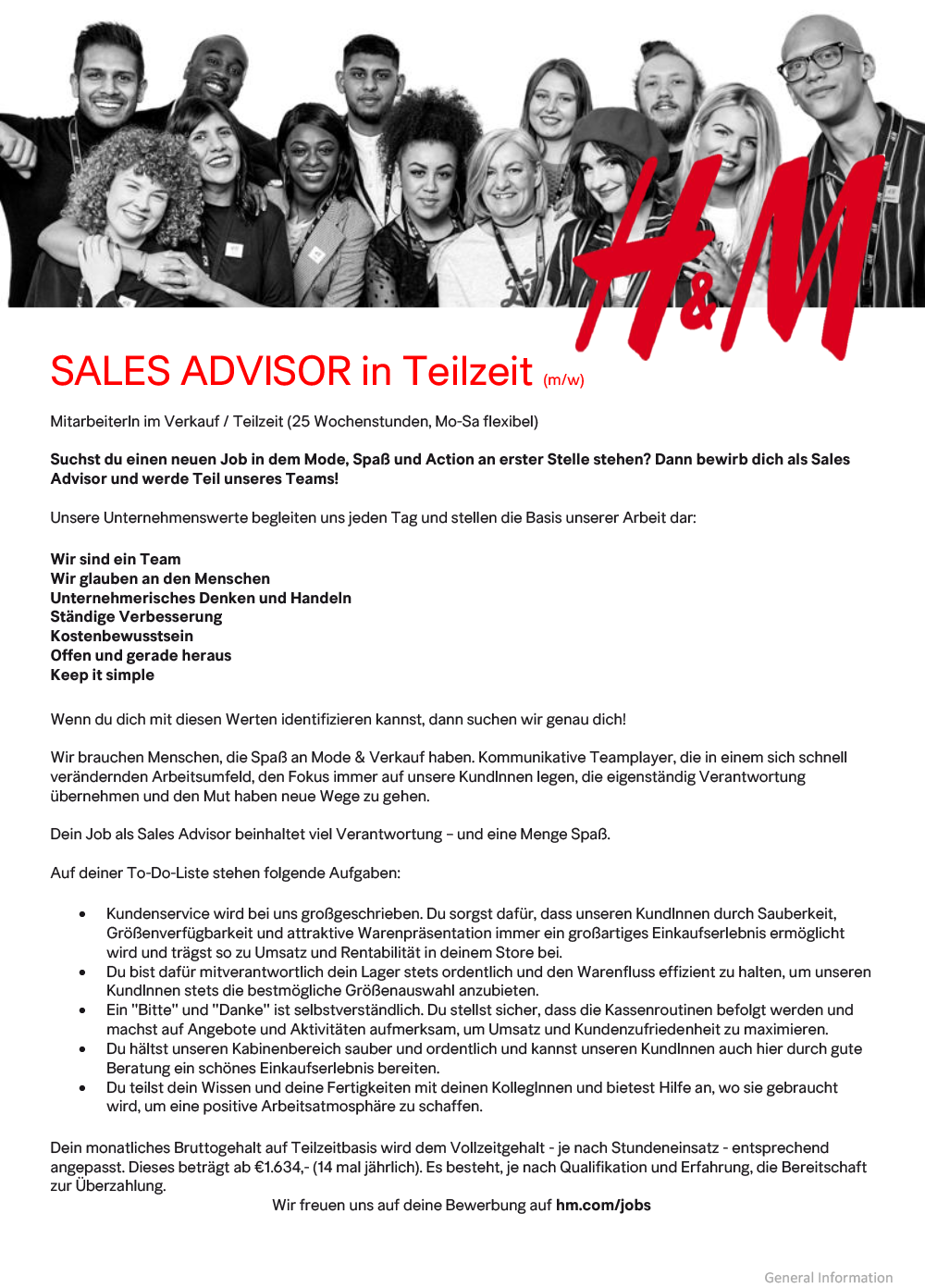 Sales Advisor Teilzeit
