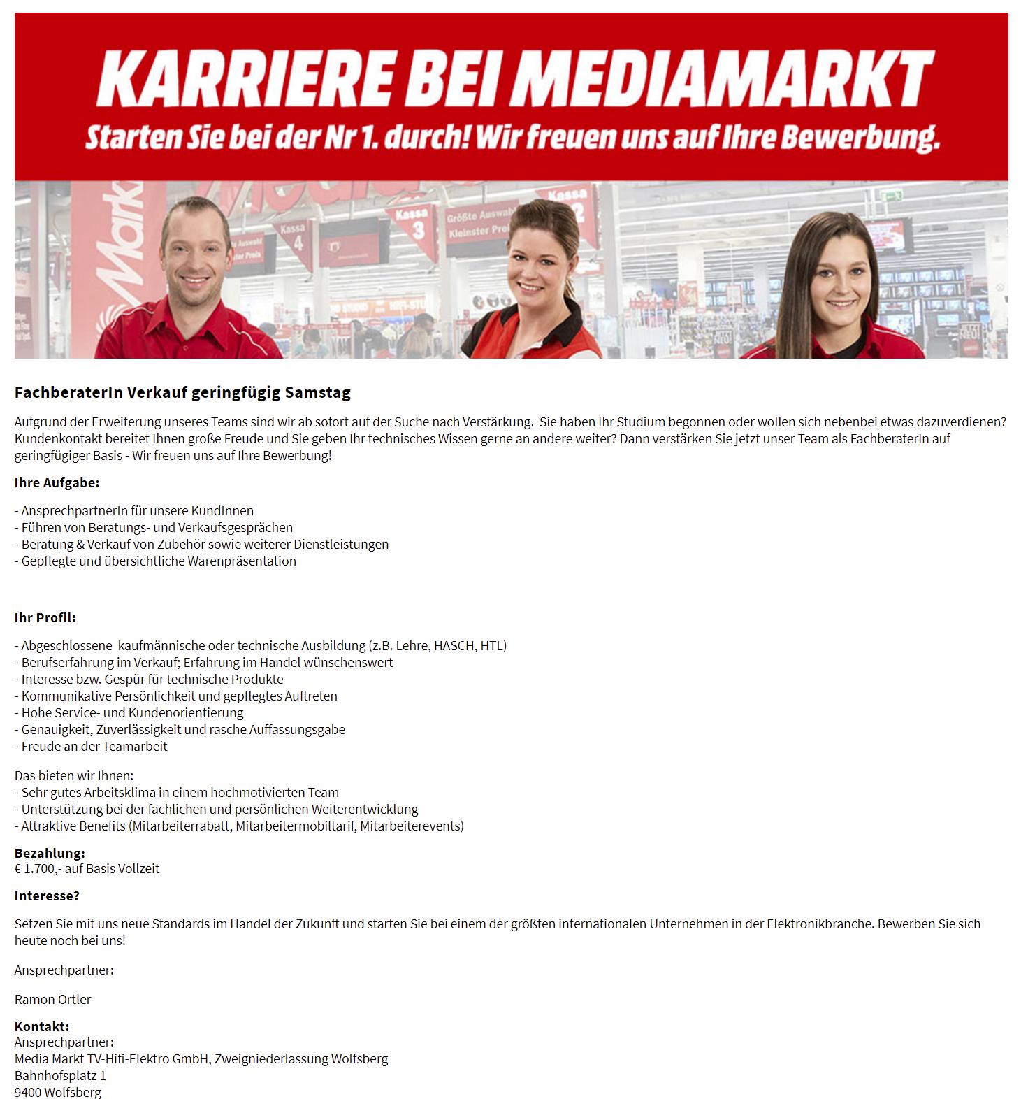 Samstag Aushilfe Media Markt